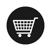 Shopping cart icon vector illustration design isolated on flat black round button