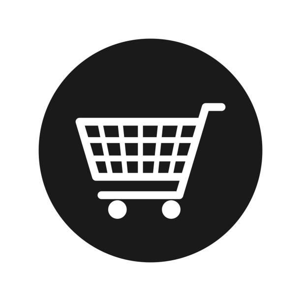 ilustrações de stock, clip art, desenhos animados e ícones de shopping cart icon flat black round button vector illustration - supermarket worker