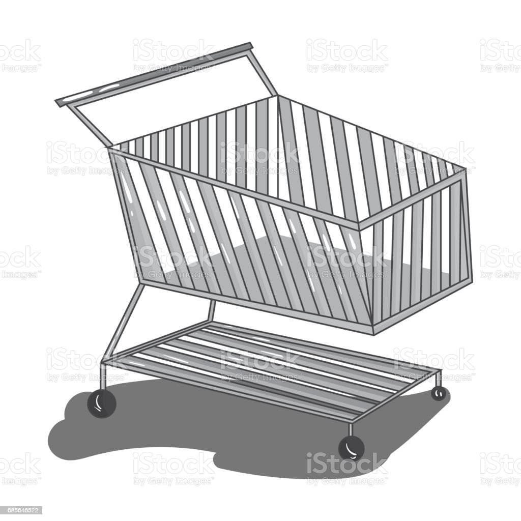 Shopping cart icon in monochrome style isolated on white background. Supermarket symbol stock vector illustration. royalty-free shopping cart icon in monochrome style isolated on white background supermarket symbol stock vector illustration stock vector art & more images of art