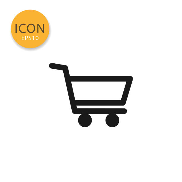 stockillustraties, clipart, cartoons en iconen met shopping cart pictogram geïsoleerd vlakke stijl. - winkelwagentje