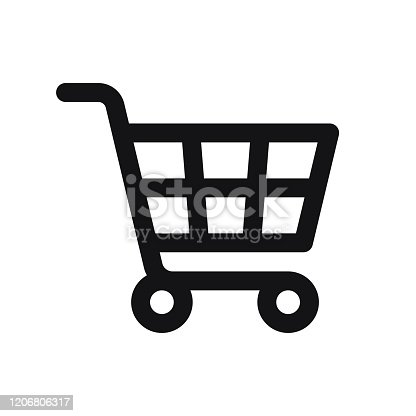istock Shopping Cart Icon isolated on white background 1206806317