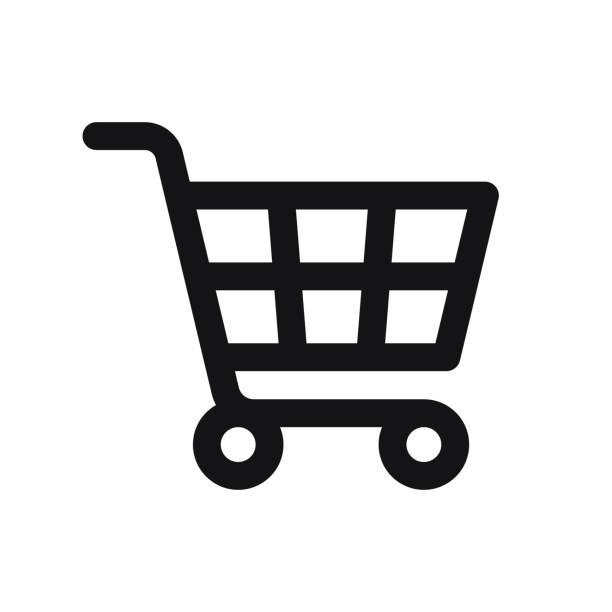 ikona koszyka izolowana na białym tle - handel detaliczny stock illustrations