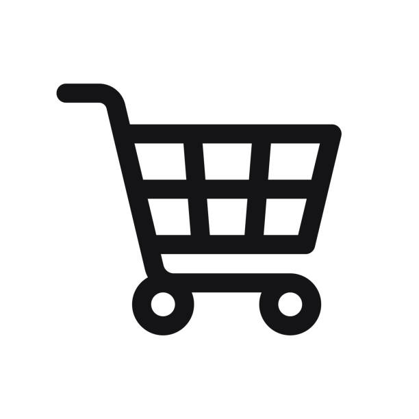 Shopping Cart Icon isolated on white background Shopping Cart Icon isolated on white background cart stock illustrations