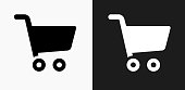 Shopping Cart Icon on Black and White Vector Backgrounds. This vector illustration includes two variations of the icon one in black on a light background on the left and another version in white on a dark background positioned on the right. The vector icon is simple yet elegant and can be used in a variety of ways including website or mobile application icon. This royalty free image is 100% vector based and all design elements can be scaled to any size.