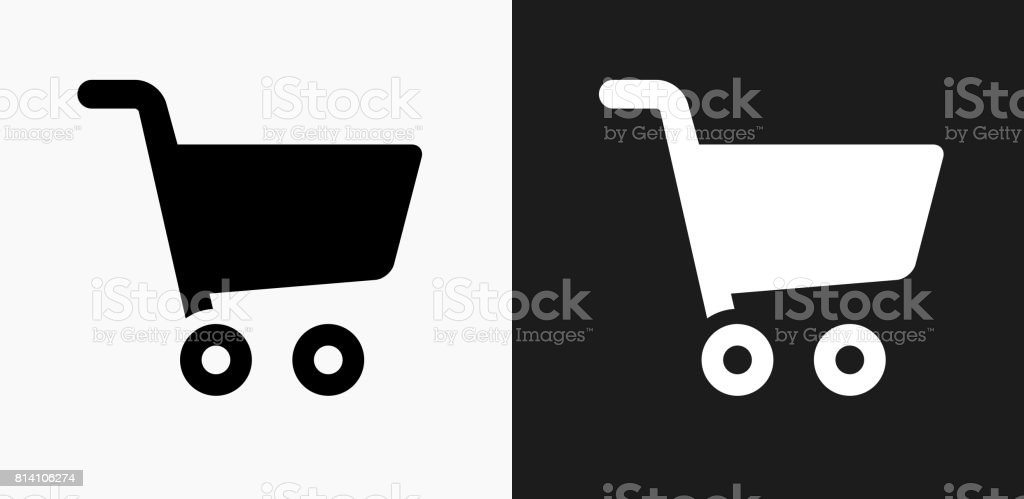 Shopping Cart Icon on Black and White Vector Backgrounds vector art illustration