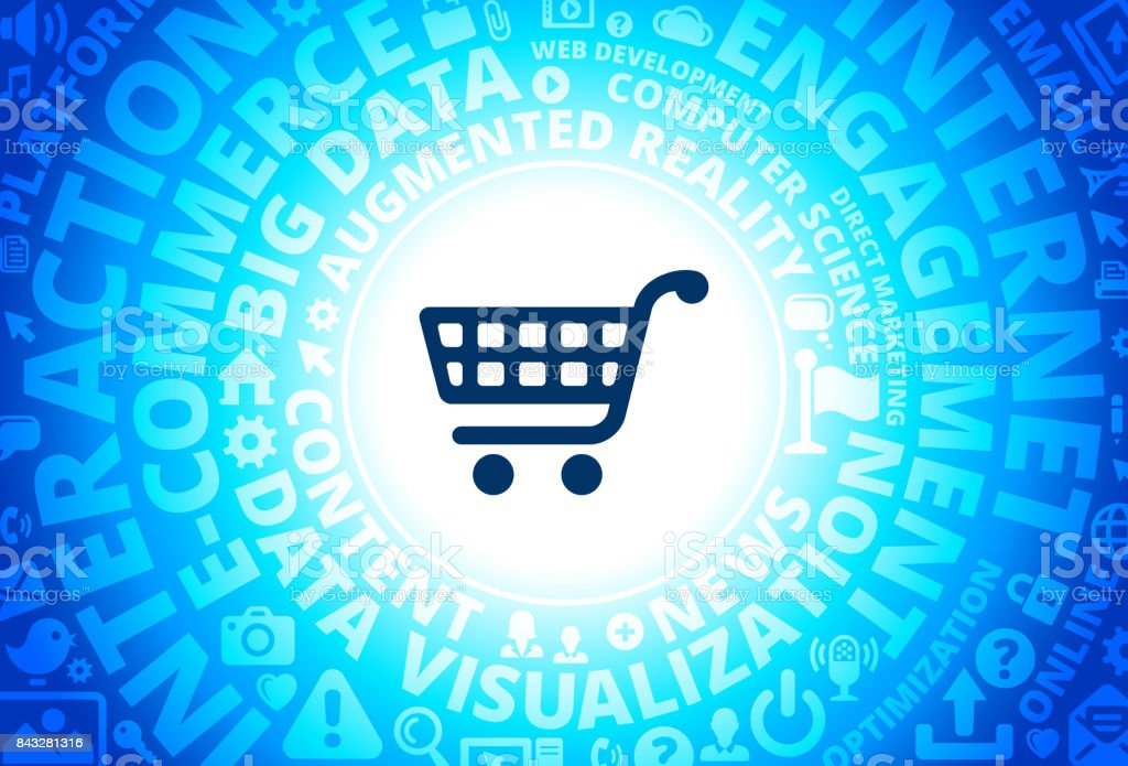 Shopping Cart Icon on Internet Modern Technology Words Background vector art illustration