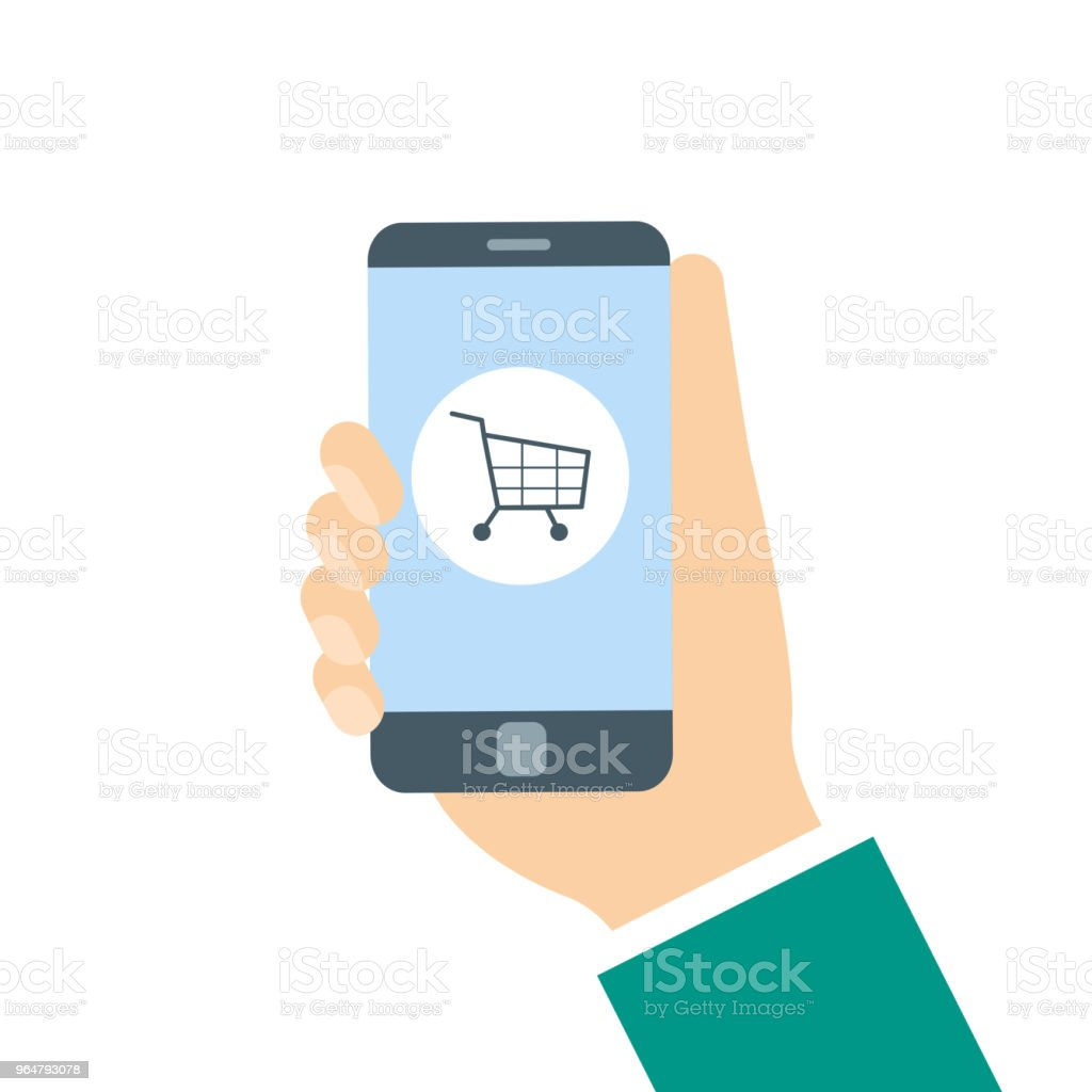 Shopping cart icon on smartphone screen royalty-free shopping cart icon on smartphone screen stock vector art & more images of basket