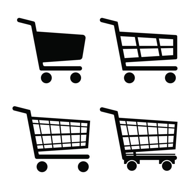 shopping cart icon set icon isolated on white background. vector illustration. - handel detaliczny stock illustrations