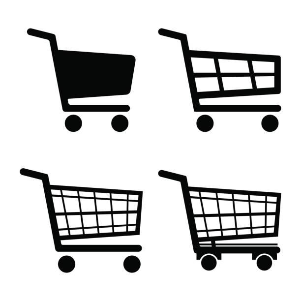 stockillustraties, clipart, cartoons en iconen met shopping cart pictogram ingesteld pictogram geïsoleerd op een witte achtergrond. vectorillustratie. - winkelwagentje