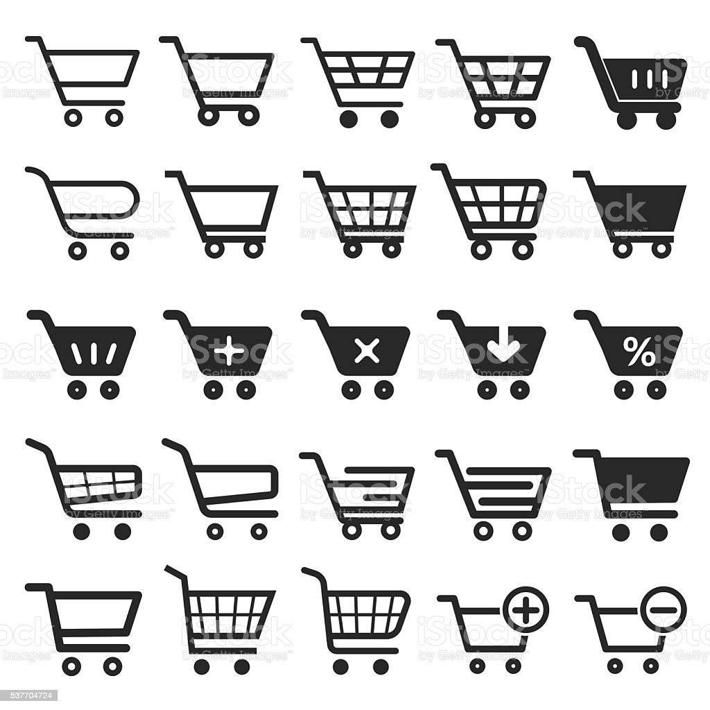 Shopping Cart icon set vector art illustration