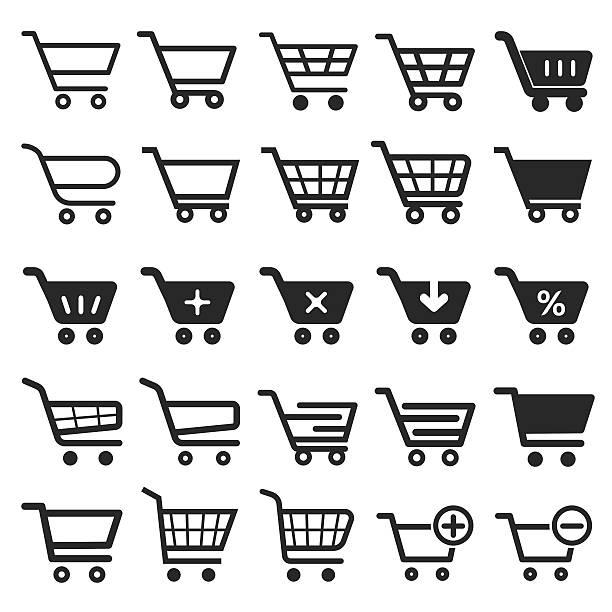 stockillustraties, clipart, cartoons en iconen met shopping cart icon set - winkelwagentje