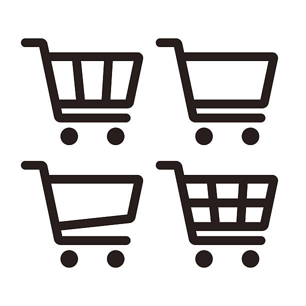 Shopping Cart Icon Set Shopping Cart Icon Set isolated on white background cart stock illustrations