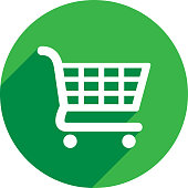 Vector illustration of a green shopping cart icon in flat style.