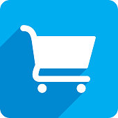 Vector illustration of a blue shopping cart icon in flat style.