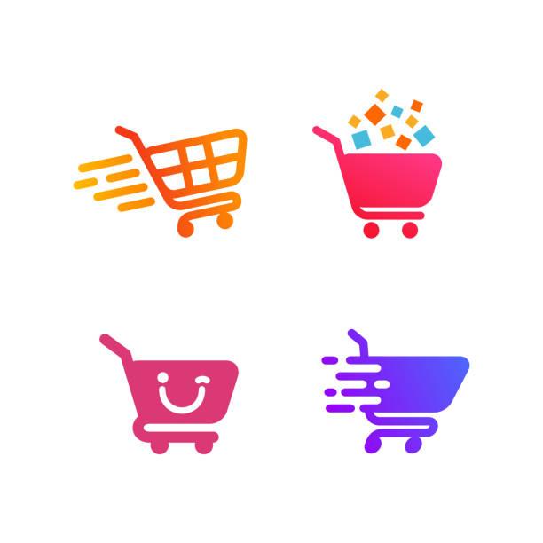projekt symbolu koszyka. projekt ikony zakupów - handel detaliczny stock illustrations