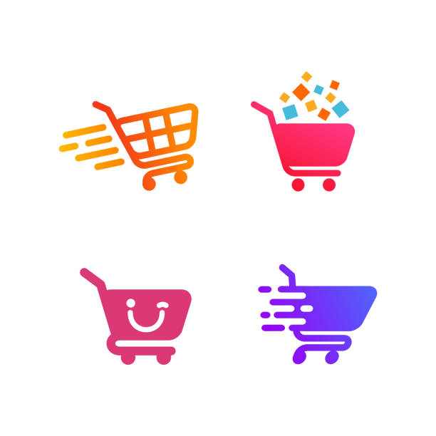 shopping cart icon symbol design. shopping icon design - handel detaliczny stock illustrations