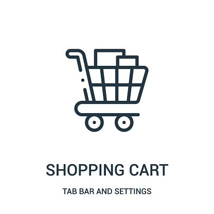 shopping cart icon vector from tab bar and settings collection. Thin line shopping cart outline icon vector illustration.