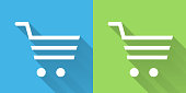 Shopping Cart Iconon Blue Green Background with Long Shadow. There are two background color variations included in this file. The icon is rendered in white color and the background is blue or green. There is also a 45 degree long shadow.