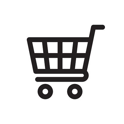 Shopping Cart Icon - Stockowe grafiki wektorowe i więcej obrazów Biały