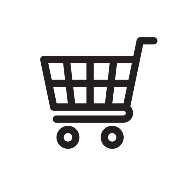 Shopping Cart Icon Shopping Cart Icon isolated on white background for sale stock illustrations