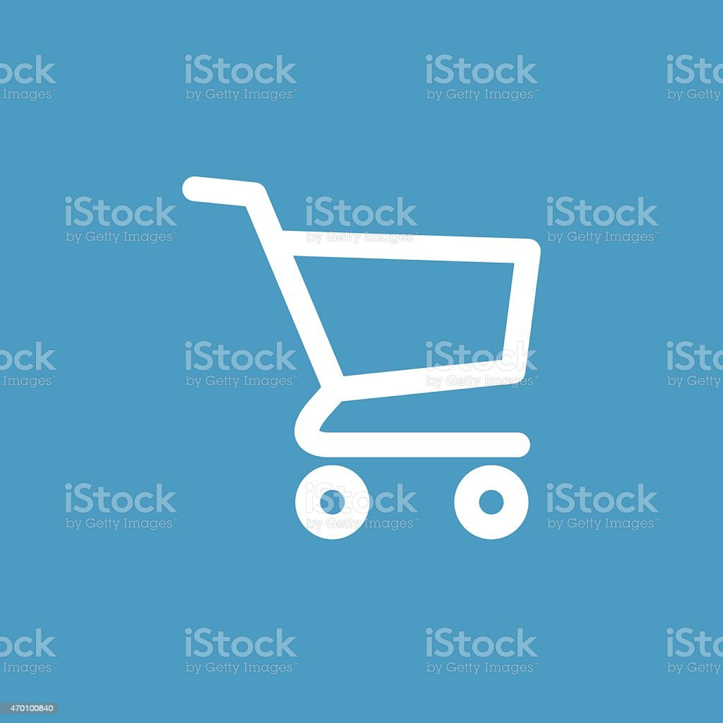 shopping cart icon, white on the blue background vector art illustration