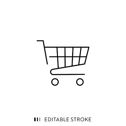 Shopping Cart Icon with Editable Stroke and Pixel Perfect.