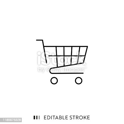 Shopping Basket Icon with Editable Stroke and Pixel Perfect.