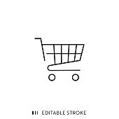 istock Shopping Cart Icon with Editable Stroke and Pixel Perfect. 1185675328