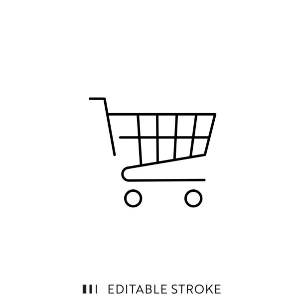Shopping Cart Icon with Editable Stroke and Pixel Perfect. Shopping Basket Icon with Editable Stroke and Pixel Perfect. cart stock illustrations