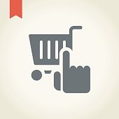 Shopping cart icon with hand icon, vector illustration.