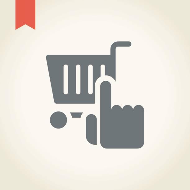 bildbanksillustrationer, clip art samt tecknat material och ikoner med shopping cart ikonen med handikonen - on demand