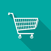 istock Shopping cart icon with long shadow. Flat design style. 881584102
