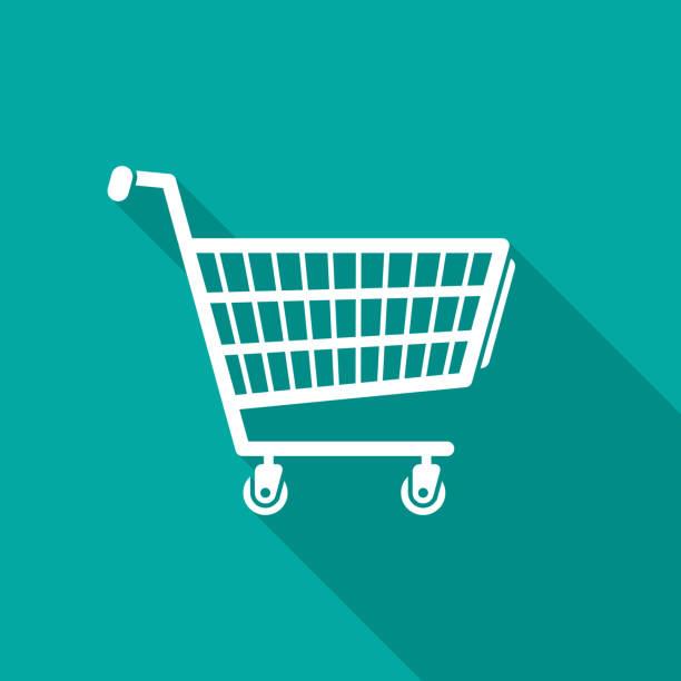 stockillustraties, clipart, cartoons en iconen met shopping cart pictogram met lange schaduw. platte ontwerpstijl. - winkelwagentje