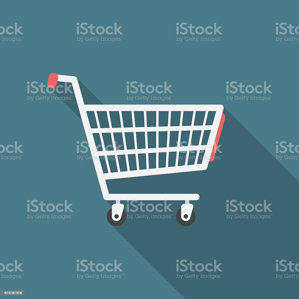 Shopping cart icon with long shadow. vector art illustration