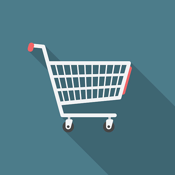 Shopping cart icon with long shadow. Shopping cart icon with long shadow. Flat design style. Shopping cart silhouette. Simple icon. Modern flat icon in stylish colors. Web site page and mobile app design vector element. cart stock illustrations
