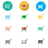 shopping cart icons on white background