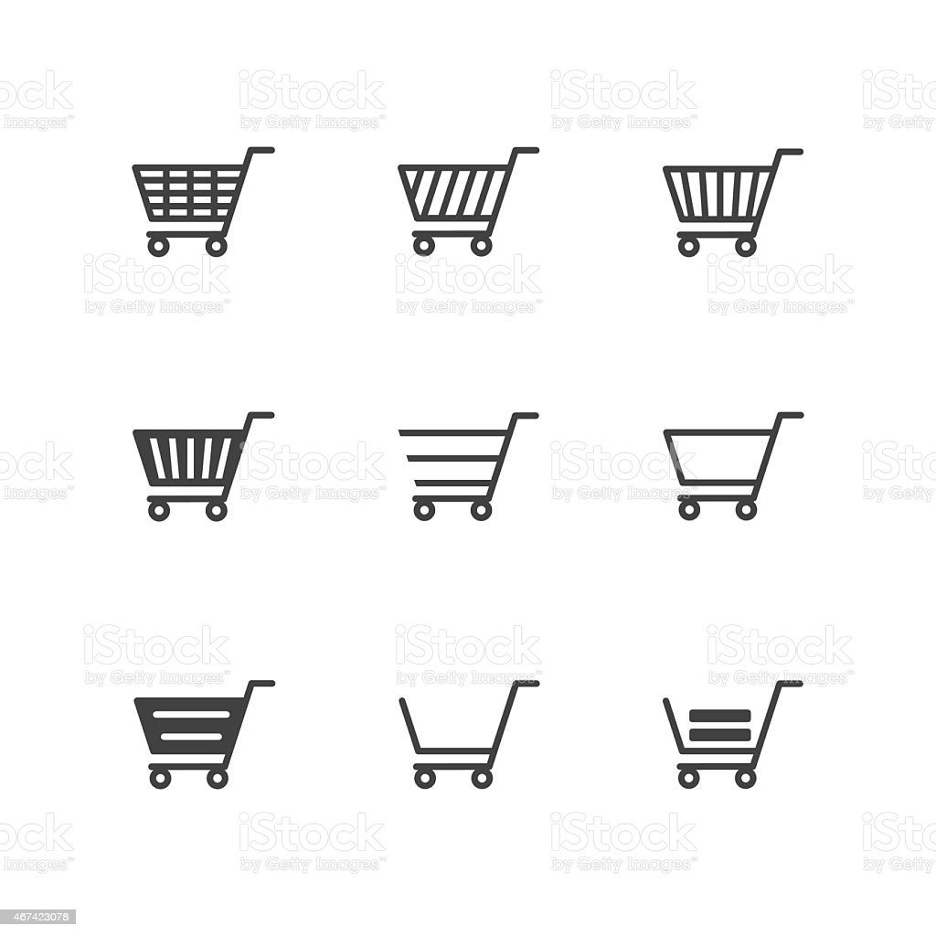 Shopping Cart Icons on white background vector art illustration