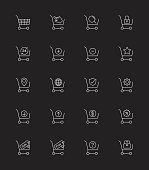 Shopping Cart icons, Thin line - Vector Illustration
