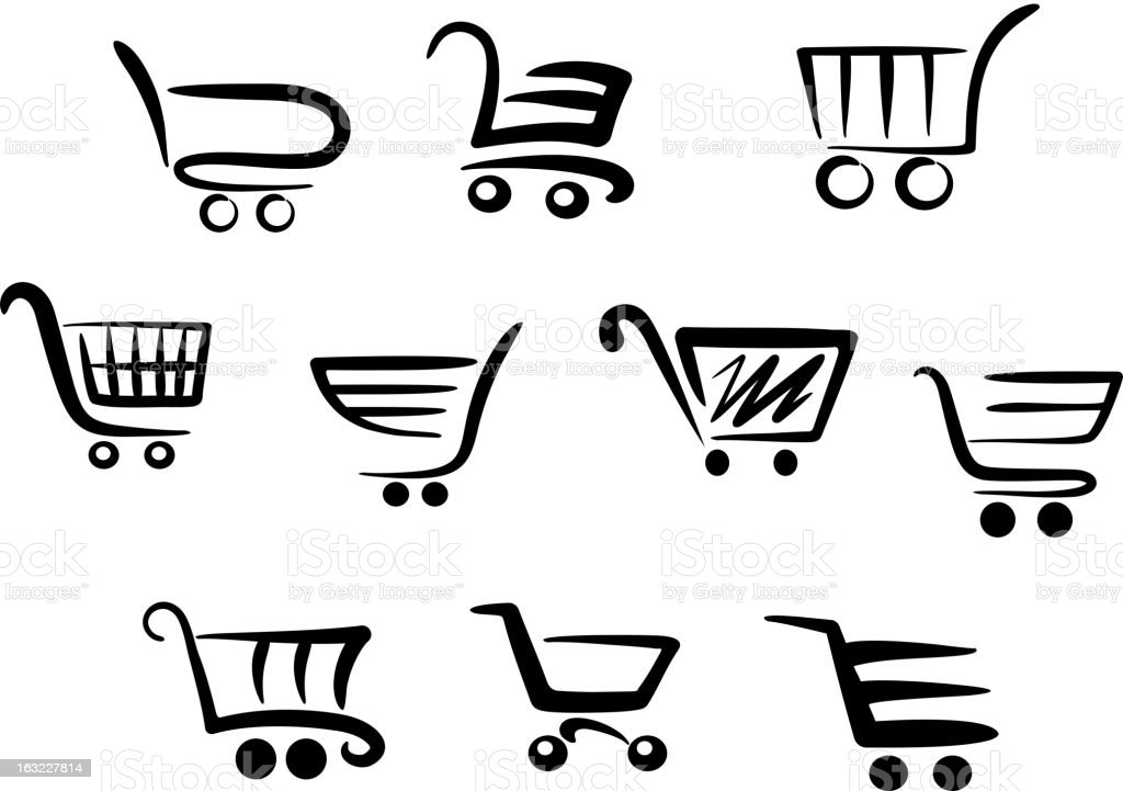 Shopping cart icons royalty-free stock vector art