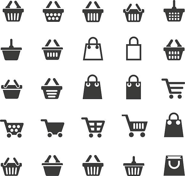 장바구니 아이콘 - 바구니 stock illustrations