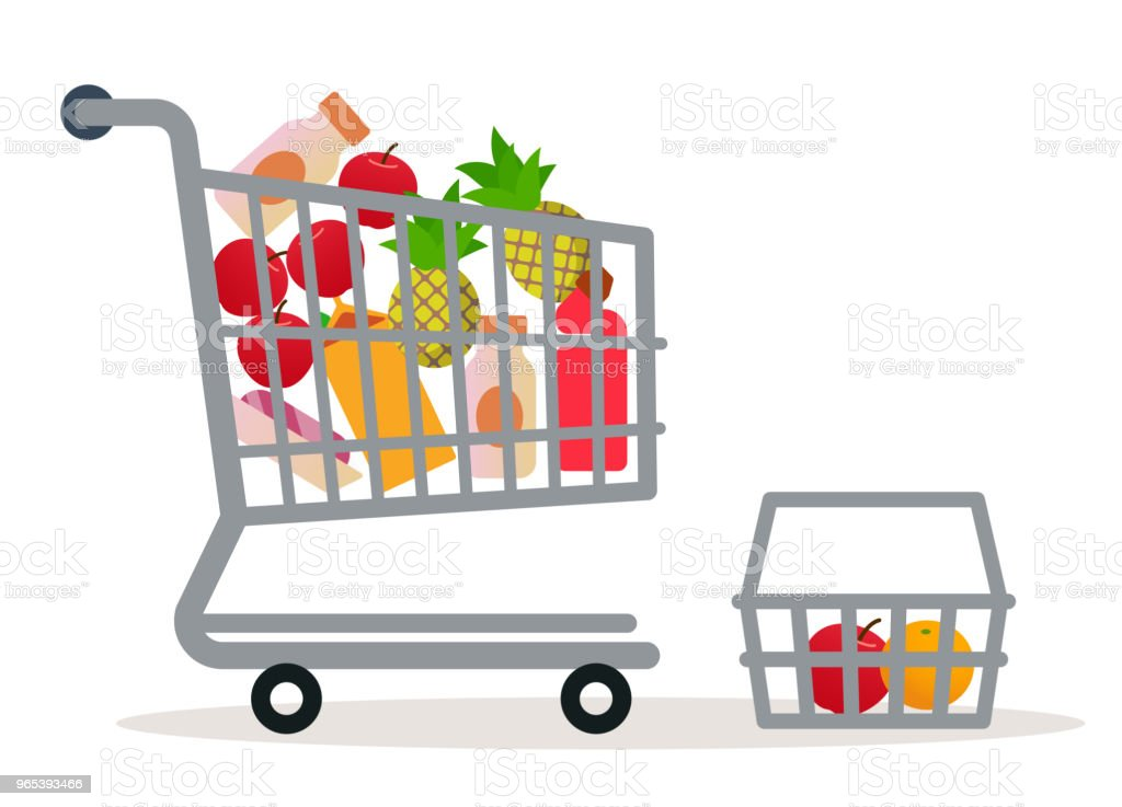 Shopping cart in the supermarket with goods. royalty-free shopping cart in the supermarket with goods stock vector art & more images of apple - fruit