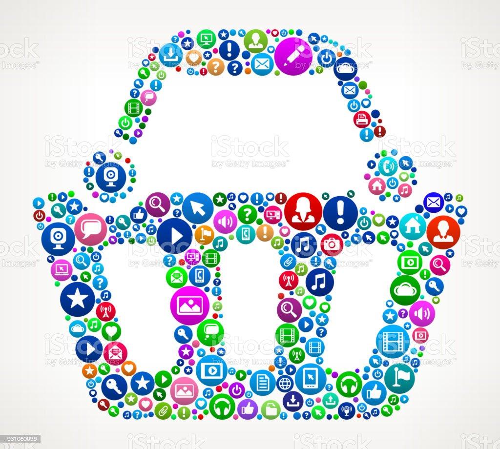Shopping Cart Internet Communication Technology Icon Pattern vector art illustration