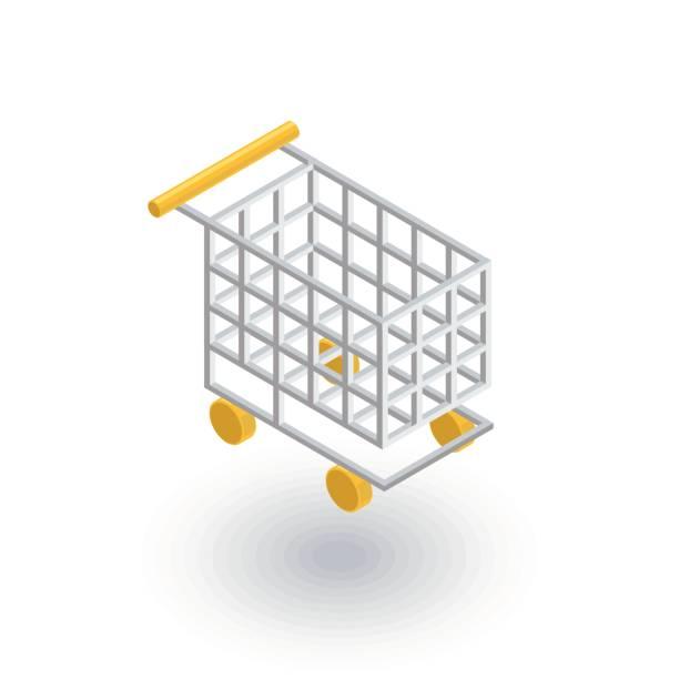 ilustrações de stock, clip art, desenhos animados e ícones de shopping cart isometric flat icon. 3d vector - online shopping