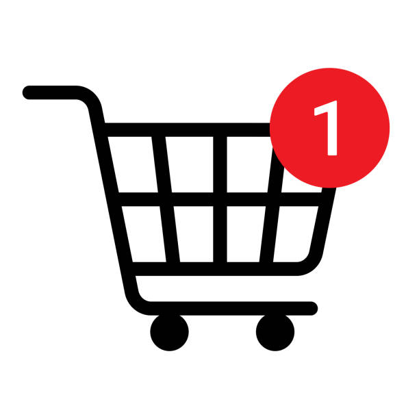 Shopping cart line icon, black editable stroke. Trolley, basket business concept. Shopping cart with number of purchases. Vector illustration isolated on white background Shopping cart line icon, black editable stroke. Trolley, basket business concept. Shopping cart with number of purchases. Vector illustration isolated on white background. cart stock illustrations