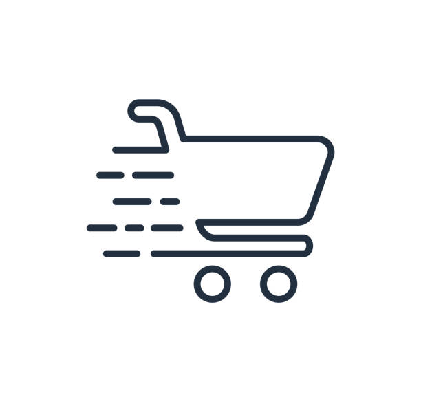 Shopping cart line icon. Fast buy. Vector logo. Shopping cart line icon, fast buy. cart stock illustrations