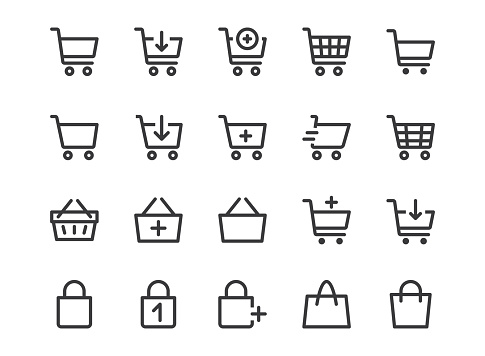Shopping Cart Line Icon. Minimal Vector Illustration. Included Simple Outline Icons as Trolley, Supermarket Basket, Shop Bag, Add Item, E-commerce. Editable Stroke. Pixel Perfect