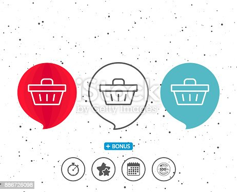 Speech bubbles with symbol. Shopping cart line icon. Online buying sign. Supermarket basket symbol. Bonus with different classic signs. Random circles background. Vector