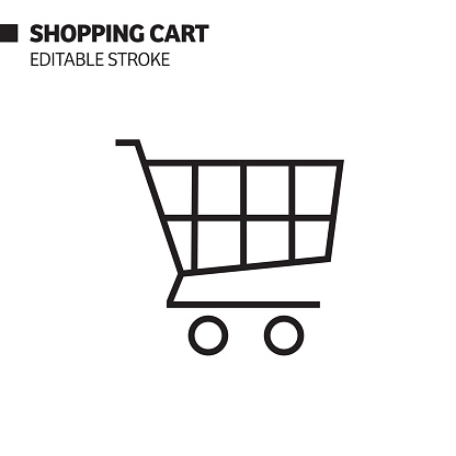 Shopping Cart Line Icon, Outline Vector Symbol Illustration. Pixel Perfect, Editable Stroke.