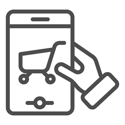 Shopping cart on smartphone line icon. Shop app on phone vector illustration isolated on white. Mobile phone with trolley outline style design, designed for web and app. Eps 10.
