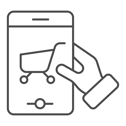 Shopping cart on smartphone thin line icon. Shop app on phone vector illustration isolated on white. Mobile phone with trolley outline style design, designed for web and app. Eps 10.